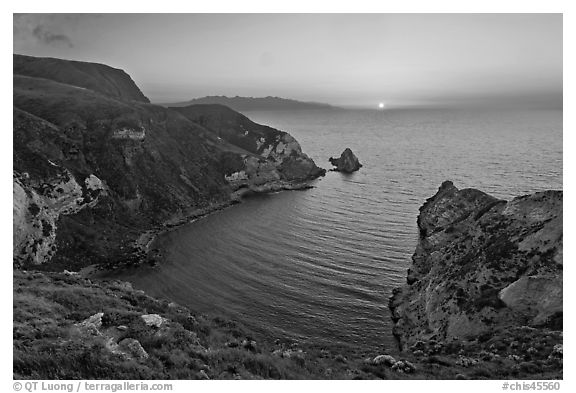 Sunset, Potato Harbor, Santa Cruz Island. Channel Islands National Park (black and white)