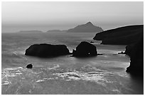 Rocks and Anacapa Islands a dawn, Santa Cruz Island. Channel Islands National Park ( black and white)