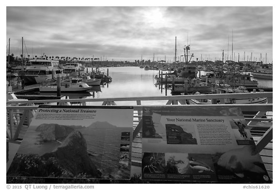 Ventura Harbor interpretive sign. Channel Islands National Park (black and white)