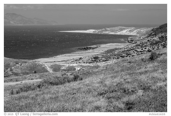View over Skunk Point from marine terrace, Santa Rosa Island. Channel Islands National Park (black and white)