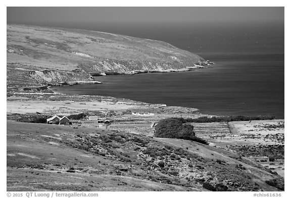 Vail and Vickers Ranch and Bechers Bay, Santa Rosa Island. Channel Islands National Park (black and white)