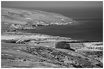 Vail and Vickers Ranch and Bechers Bay, Santa Rosa Island. Channel Islands National Park ( black and white)