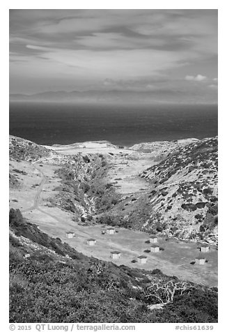 Water Canyon campground from above, Santa Rosa Island. Channel Islands National Park (black and white)