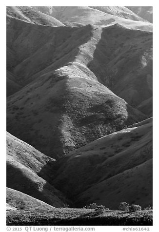 Ridges of central range, Santa Rosa Island. Channel Islands National Park (black and white)
