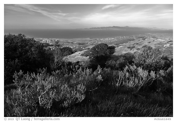 Summit of Black Mountain, Santa Rosa Island. Channel Islands National Park (black and white)