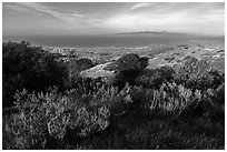 Summit of Black Mountain, Santa Rosa Island. Channel Islands National Park ( black and white)