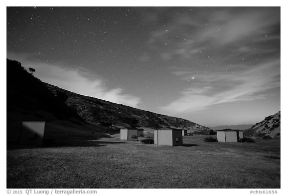 Campground at night, Santa Rosa Island. Channel Islands National Park (black and white)