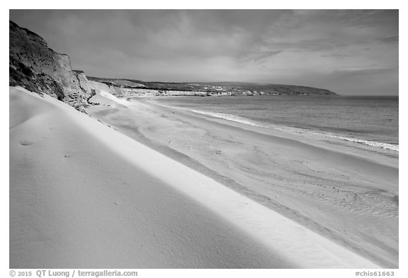 White sand dunes, Water Canyon Beach, Santa Rosa Island. Channel Islands National Park (black and white)