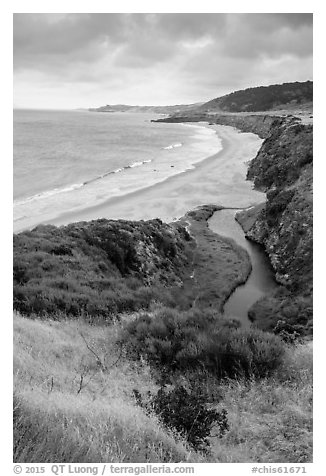 Stream and Water Canyon Beach, Santa Rosa Island. Channel Islands National Park (black and white)