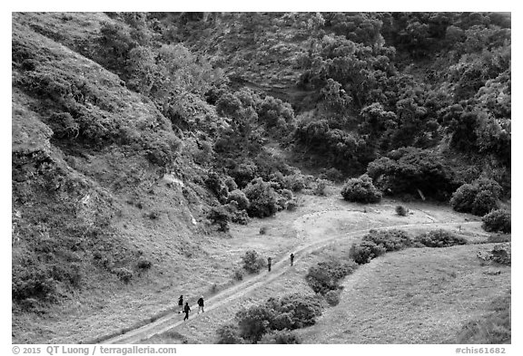 Hikers at Lobo Canyon entrance, Santa Rosa Island. Channel Islands National Park (black and white)