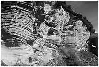 Sculptured cliffs, Lobo Canyon, Santa Rosa Island. Channel Islands National Park ( black and white)