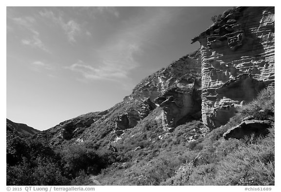 Sandstone cliffs bordering Lobo Canyon, Santa Rosa Island. Channel Islands National Park (black and white)