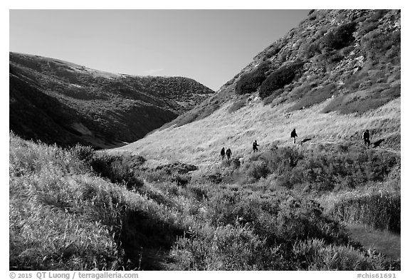 Hikers, Lobo Canyon, Santa Rosa Island. Channel Islands National Park (black and white)