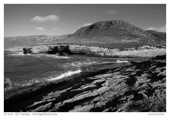 Rocky coastline at the mouth of Lobo Canyon, Santa Rosa Island. Channel Islands National Park (black and white)