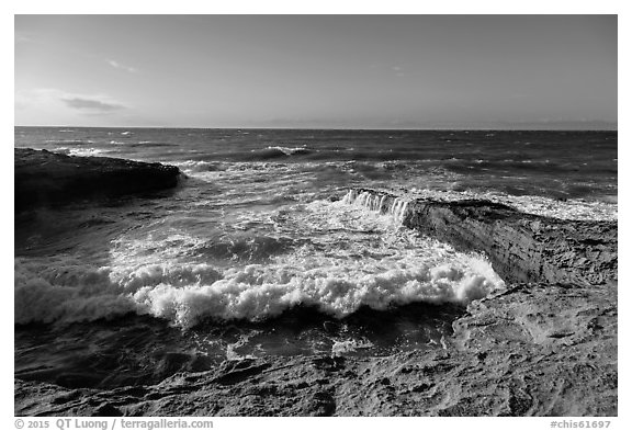 Wave action near the mouth of Lobo Canyon, Santa Rosa Island. Channel Islands National Park (black and white)