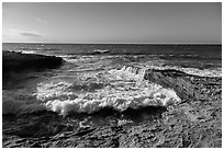 Wave action near the mouth of Lobo Canyon, Santa Rosa Island. Channel Islands National Park ( black and white)