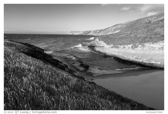 Beach at the mouth of Lobo Canyon, Santa Rosa Island. Channel Islands National Park (black and white)