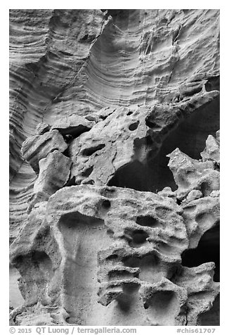 Intricate sandstone cliffs, Lobo Canyon, Santa Rosa Island. Channel Islands National Park (black and white)