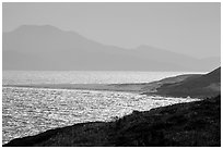 Skunk Point and Santa Cruz Island, Santa Rosa Island. Channel Islands National Park ( black and white)