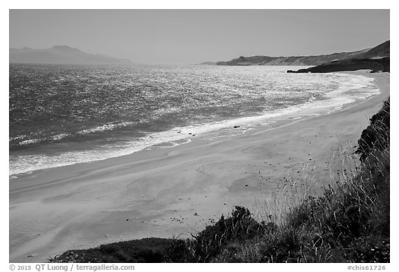 Water Canyon Beach, Santa Cruz Island, and Skunk Point, Santa Rosa Island. Channel Islands National Park (black and white)