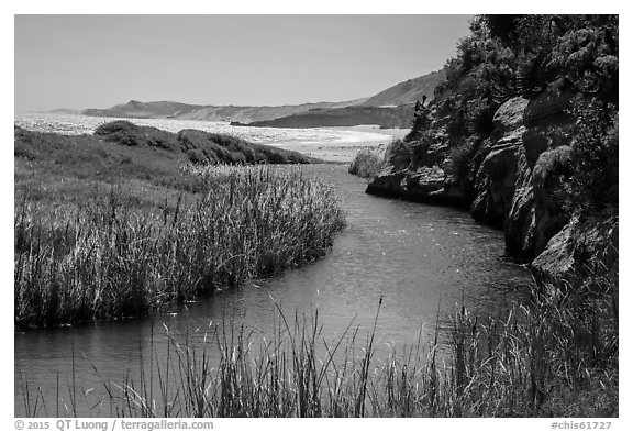 Stream at the mouth of Water Canyon, Santa Rosa Island. Channel Islands National Park (black and white)