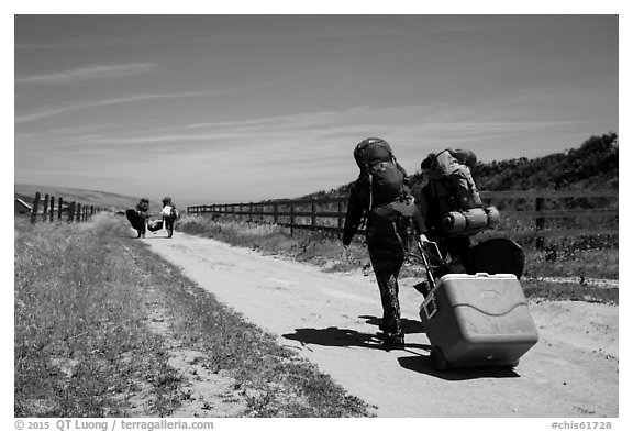 Campers haul gear, Santa Rosa Island. Channel Islands National Park (black and white)