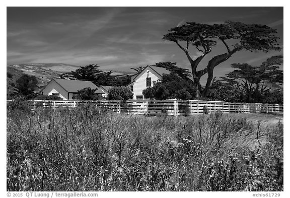 Vail and Vickers Ranch house, Santa Rosa Island. Channel Islands National Park (black and white)