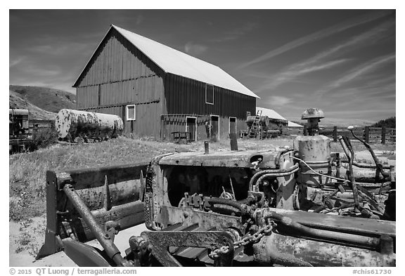 Agricultural machines and barns, Santa Rosa Island. Channel Islands National Park (black and white)