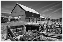 Agricultural machines and barns, Santa Rosa Island. Channel Islands National Park ( black and white)