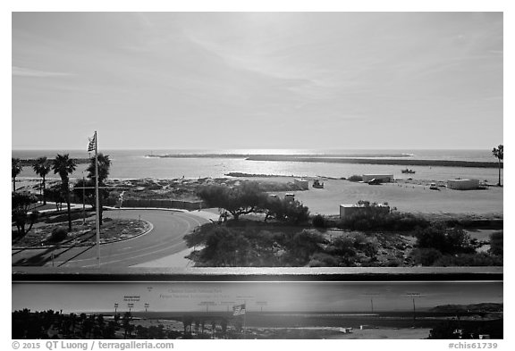 Distant view of the islands from harbor interpretive sign, visitor center. Channel Islands National Park (black and white)