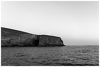 Arch Point at dawn, Santa Barbara Island. Channel Islands National Park ( black and white)
