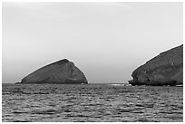 Sutil Island and Santa Barbara Island at sunrise. Channel Islands National Park ( black and white)