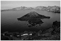 Wizard Island and Lake at dusk. Crater Lake National Park, Oregon, USA. (black and white)