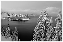 Wizard Island and Lake at dusk in winter. Crater Lake National Park ( black and white)