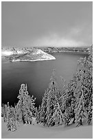 Lake and Wizard Island, winter sunrise. Crater Lake National Park, Oregon, USA. (black and white)