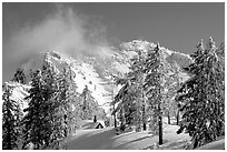 Trees, cabin, and Mt Garfield in winter. Crater Lake National Park, Oregon, USA. (black and white)