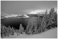 Trees, Lake and Wizard Island, cloudy winter sunrise. Crater Lake National Park, Oregon, USA. (black and white)