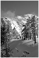 Cabin in winter with trees and mountain. Crater Lake National Park, Oregon, USA. (black and white)