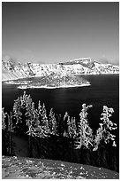Trees, Wizard Island, and Lake in winter, afternoon. Crater Lake National Park ( black and white)