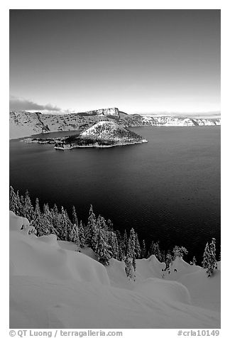Wizard Island and lake in winter, late afternoon. Crater Lake National Park (black and white)