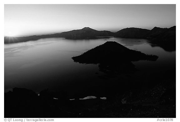 Lake and wizard island from  Watchman at sunrise. Crater Lake National Park (black and white)
