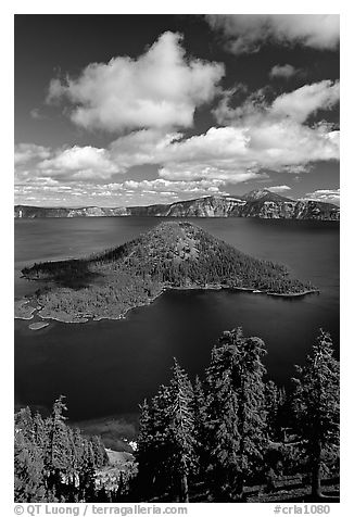 Lake and Wizard Island, afternoon. Crater Lake National Park (black and white)