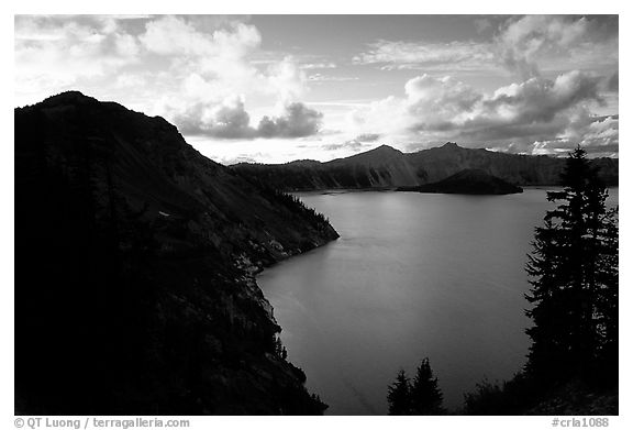 Clouds and lake from Sun Notch, sunset. Crater Lake National Park (black and white)