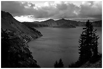 Tree, lake and clouds, Sun Notch. Crater Lake National Park ( black and white)