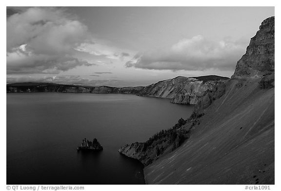 Phantom ship and lake seen from Sun Notch, sunset. Crater Lake National Park (black and white)