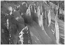 Vertical columns of volcanic origin. Crater Lake National Park, Oregon, USA. (black and white)