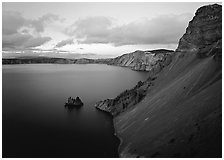 Caldera slopes and Phantom ship at dusk. Crater Lake National Park ( black and white)