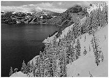 Snowy trees and slopes. Crater Lake National Park ( black and white)