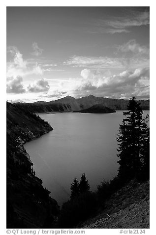 View towards  West from Sun Notch, sunset. Crater Lake National Park (black and white)