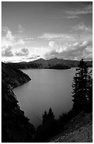 View towards  West from Sun Notch, sunset. Crater Lake National Park ( black and white)
